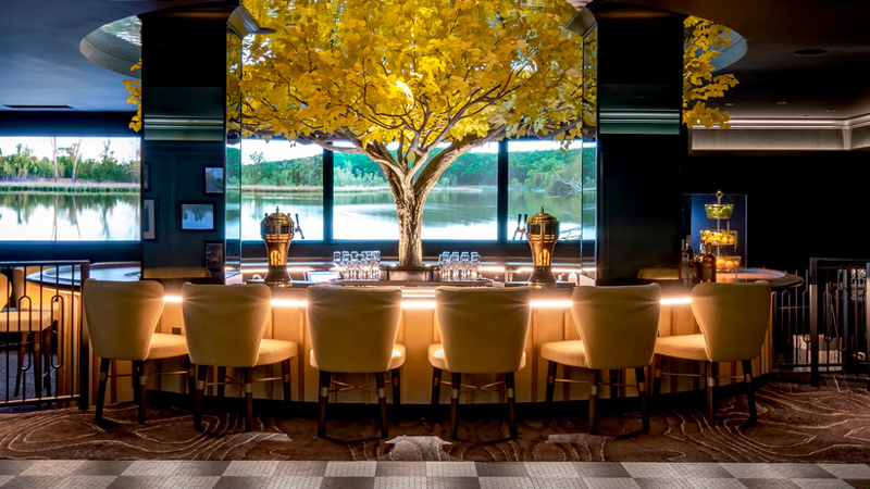 A faux cottonwood tree and landscape photography bring biophilic elements into The Cottonwood Bar at the Kimpton Cottonwood Hotel.