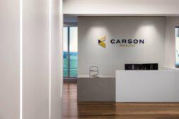 Carson headquarters design Carson Wealth reception