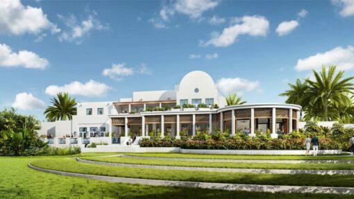 exterior rendering of aurora anguilla resort golf clubhouse