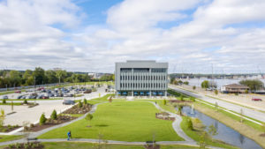 Green space and walking trails outside office buildinge IHM