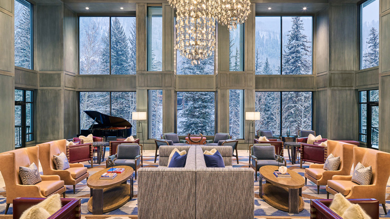 Lobby of Grand Hyatt Vail hotel with quartz chandelier, designed by LEO A DALY