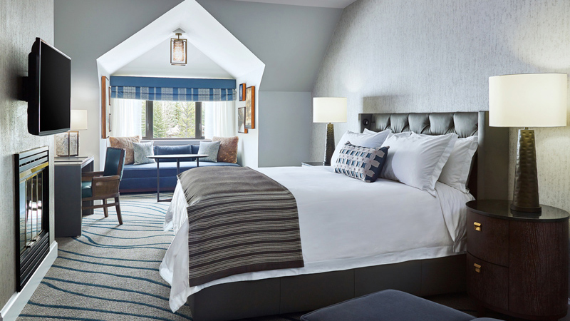 Guestroom with fire place at Grand Hyatt Vail, designed by LEO A DALY