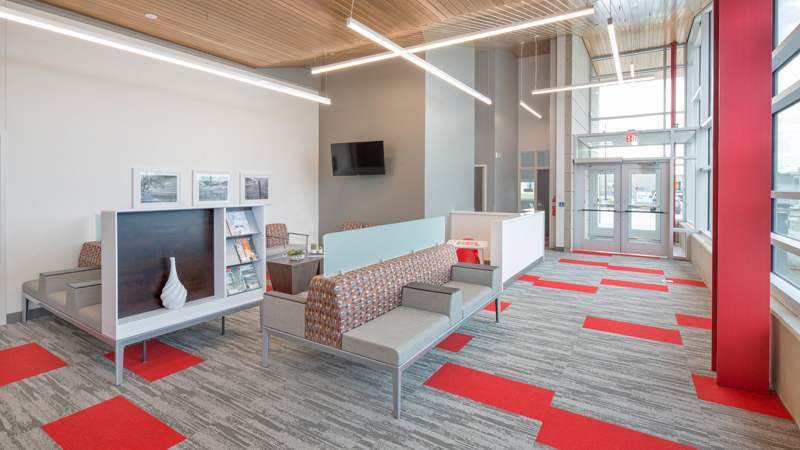 Lobby space at Nebraska Medicine primary care clinic, designed by LEO A DALY