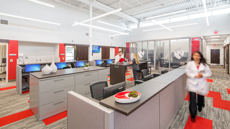 Clinician space at Nebraska Medicine primary care clinic, designed by LEO A DALY