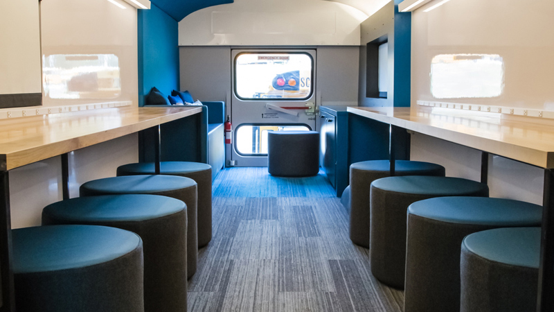 Interior of Omaha Public Schools' Mobile Learning Unit, designed by LEO A DALY