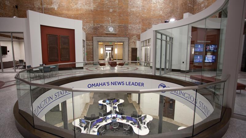 Great hall at 7 Burlington Station in Omaha looking through oculus into newsroom