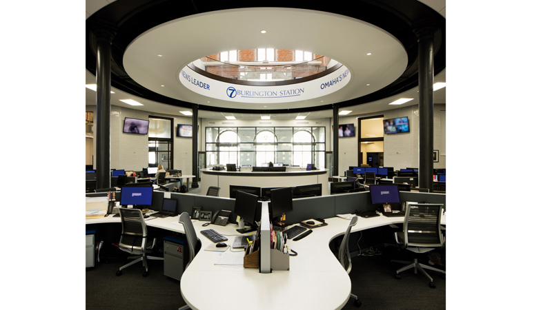 KETV newsroom at 7 Burlington Station in Omaha, designed by LEO A DALY