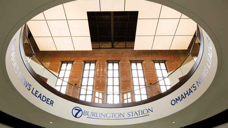 Oculus looking up at 7 Burlington Station in Omaha, designed by LEO A DALY