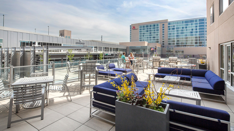Rooftop lounge area of Capitol District apartments in Omaha, designed by LEO A DALY