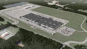 Aerial rendering of Publix's North Carolina distribution campus designed by LEO A DALY