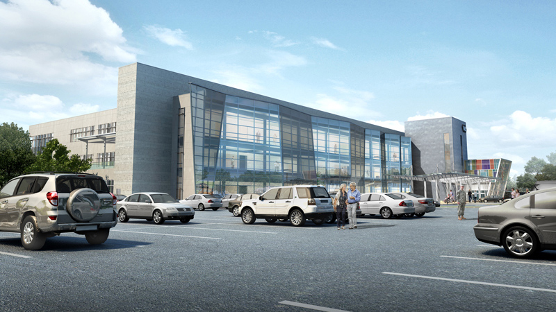 Exterior rendering of VA Omaha ambulatory care clinic, designed by LEO A DALY