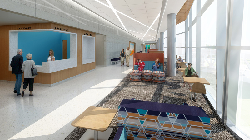 Waiting area VA Omaha ambulatory care clinic, designed by LEO A DALY