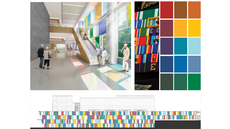 Inspiration for colorful windows of VA Omaha ambulatory care clinic, designed by LEO A DALY
