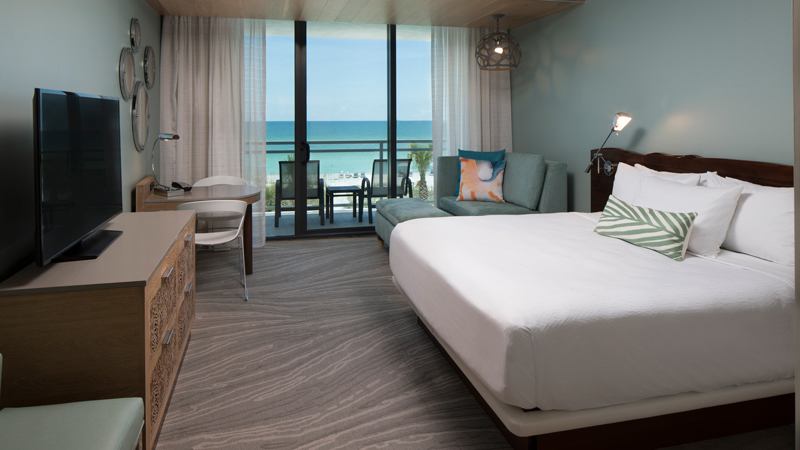 Guestroom with beach views at Zota Beach Resort, designed by LEO A DALY