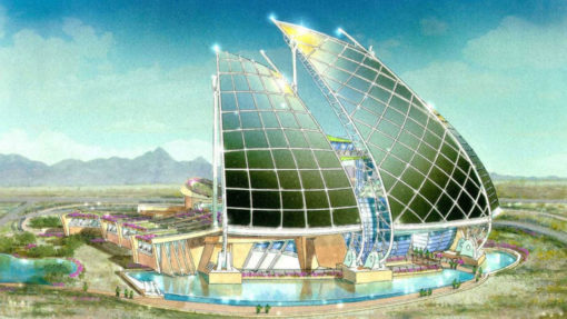 dramatic sail wall of photovoltaic cells