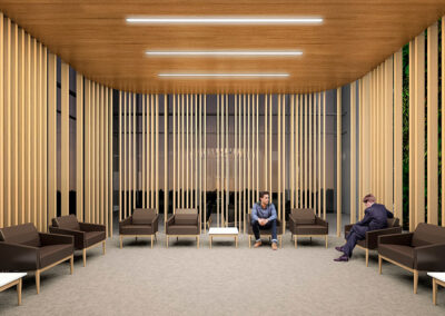 Natural materials and patterns in the waiting area of a veterans' health clinic provide comfort to patients and guests.