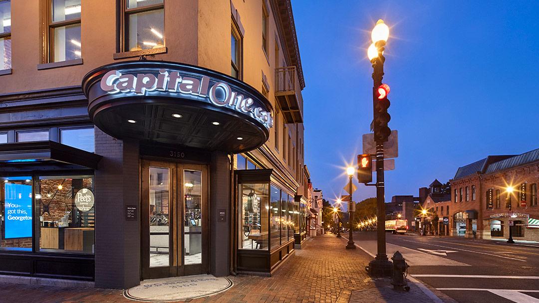 capital one bank cafe exterior close up