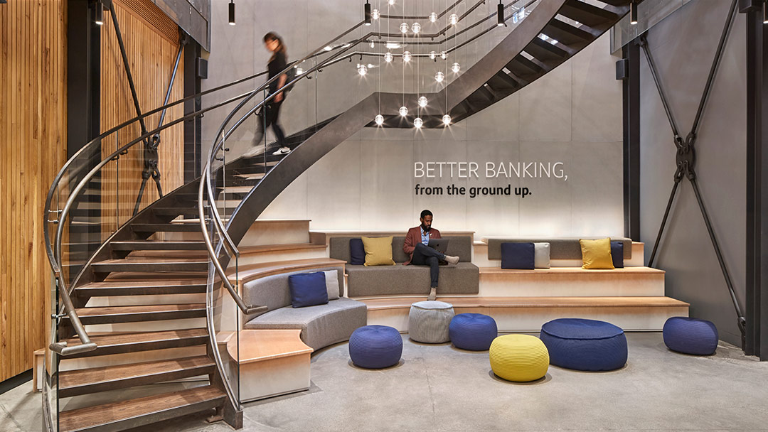 capital one bank cafe staircase seating area