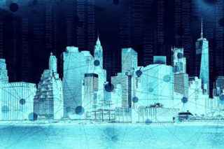 black and blue smart city image rendering