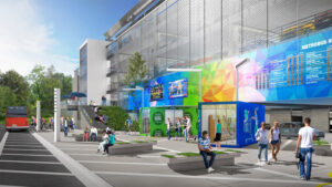 In this resilient design concept, shipping containers are repurposed to transform a sterile parking garage into a pop-up shopping area and park-and-ride.