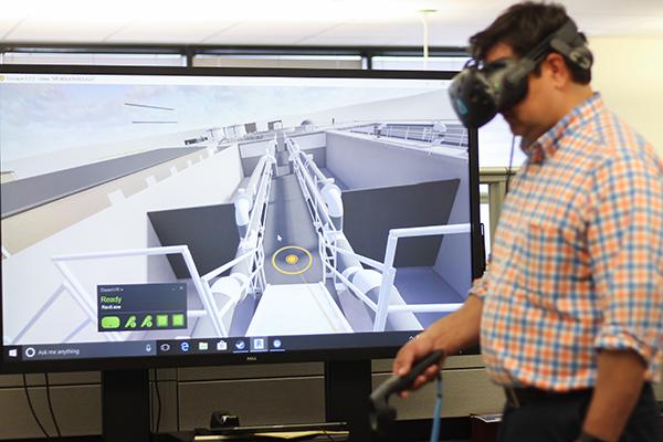 A virtual reality user